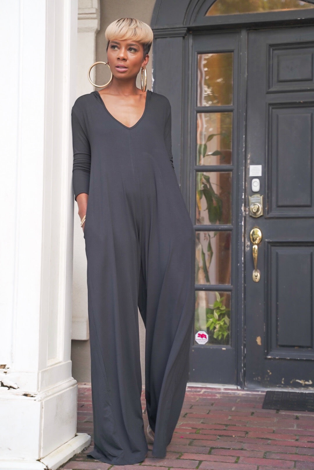 """In the Hood"" Black Jumpsuit"