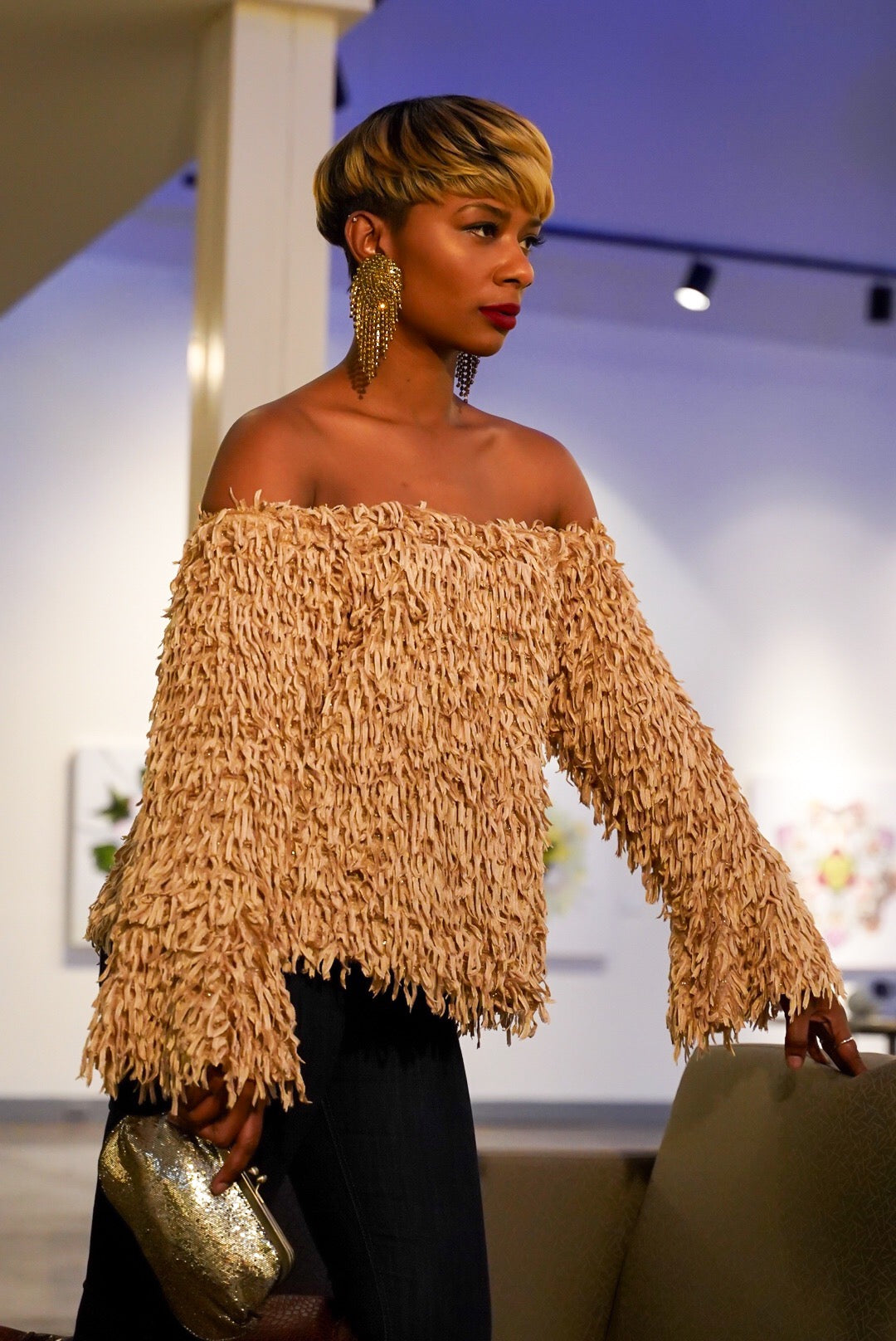 Sepia Fringed Top
