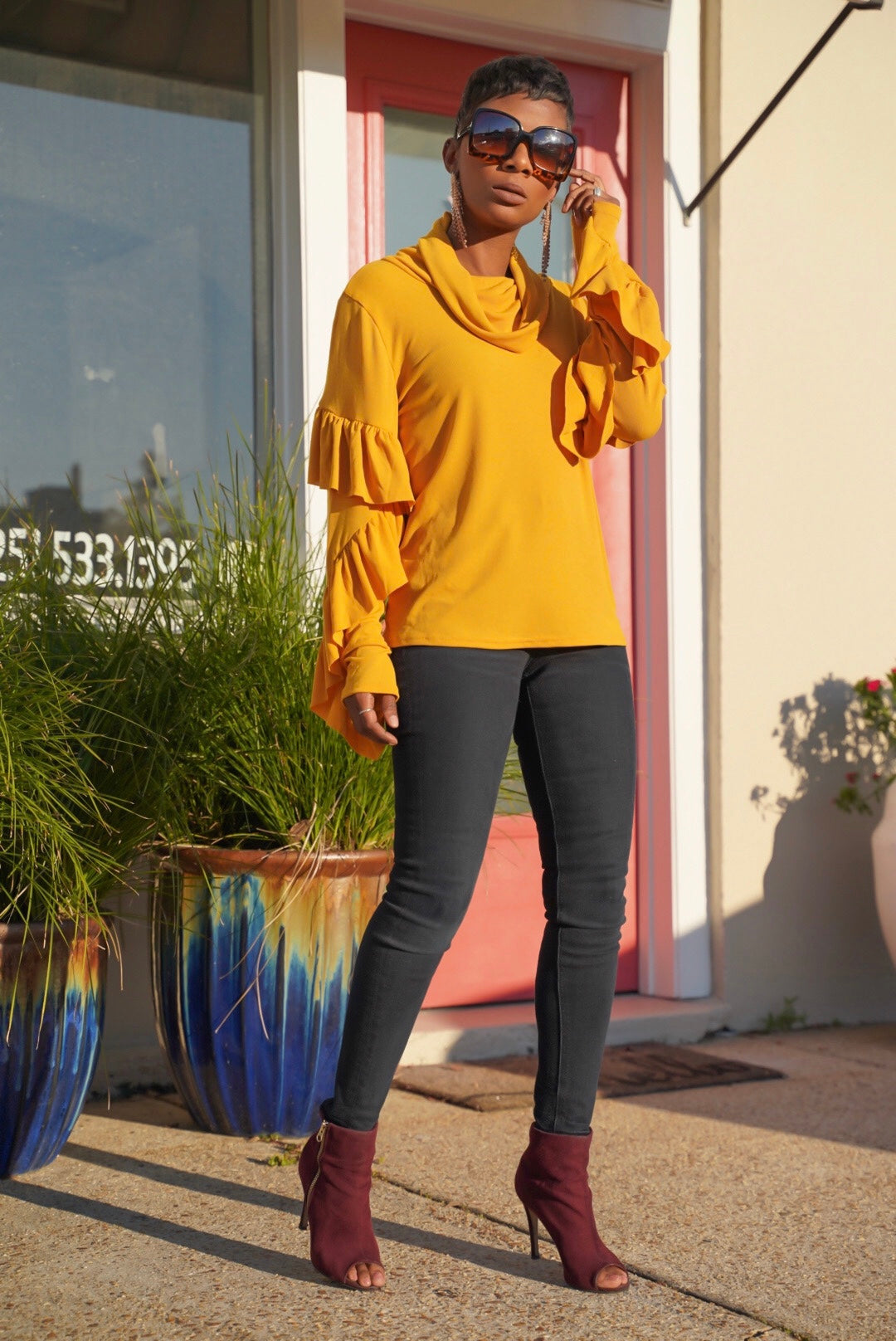 """Golden Ruffles"" Top"