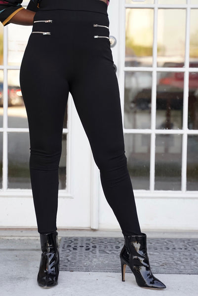 Black Zippered Leggings