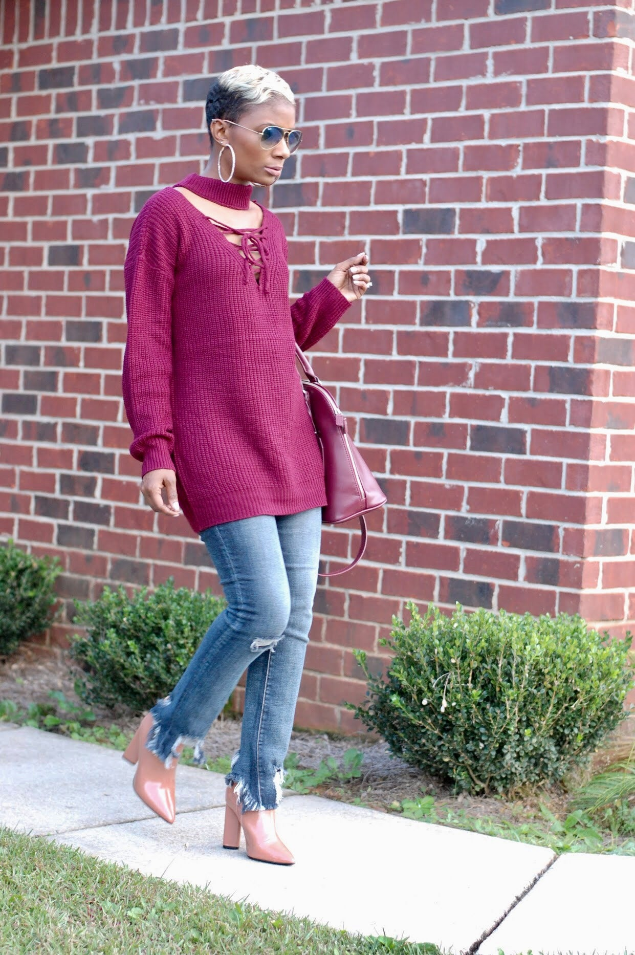 Wine Lace-Up Sweater