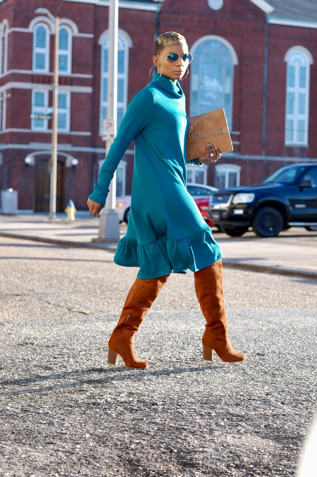 Peacock Blue Turtleneck Dress