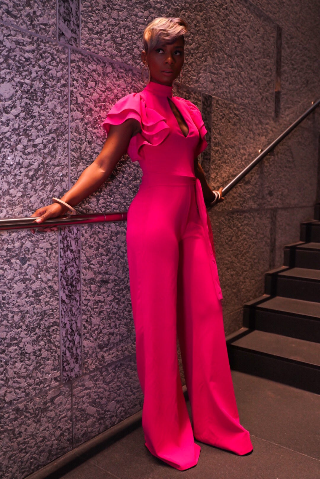 """Very Pink"" Ruffle Jumpsuit"