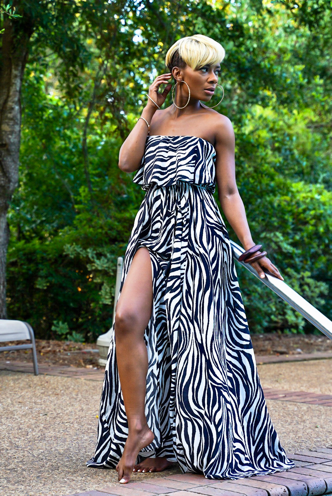 Zebra Off Shoulder Maxi
