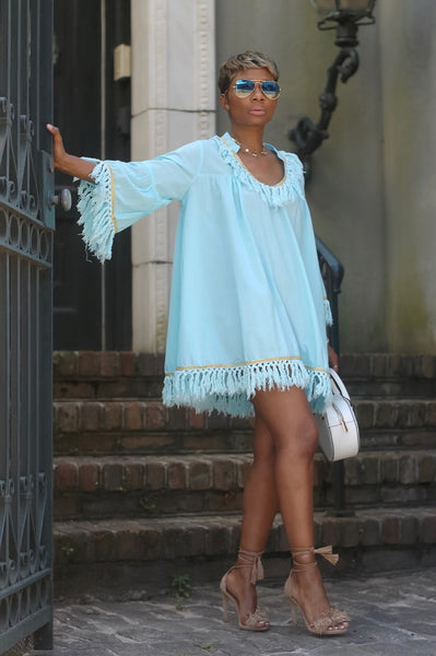 Dream Blue Fringe Dress (Available in Curvy)