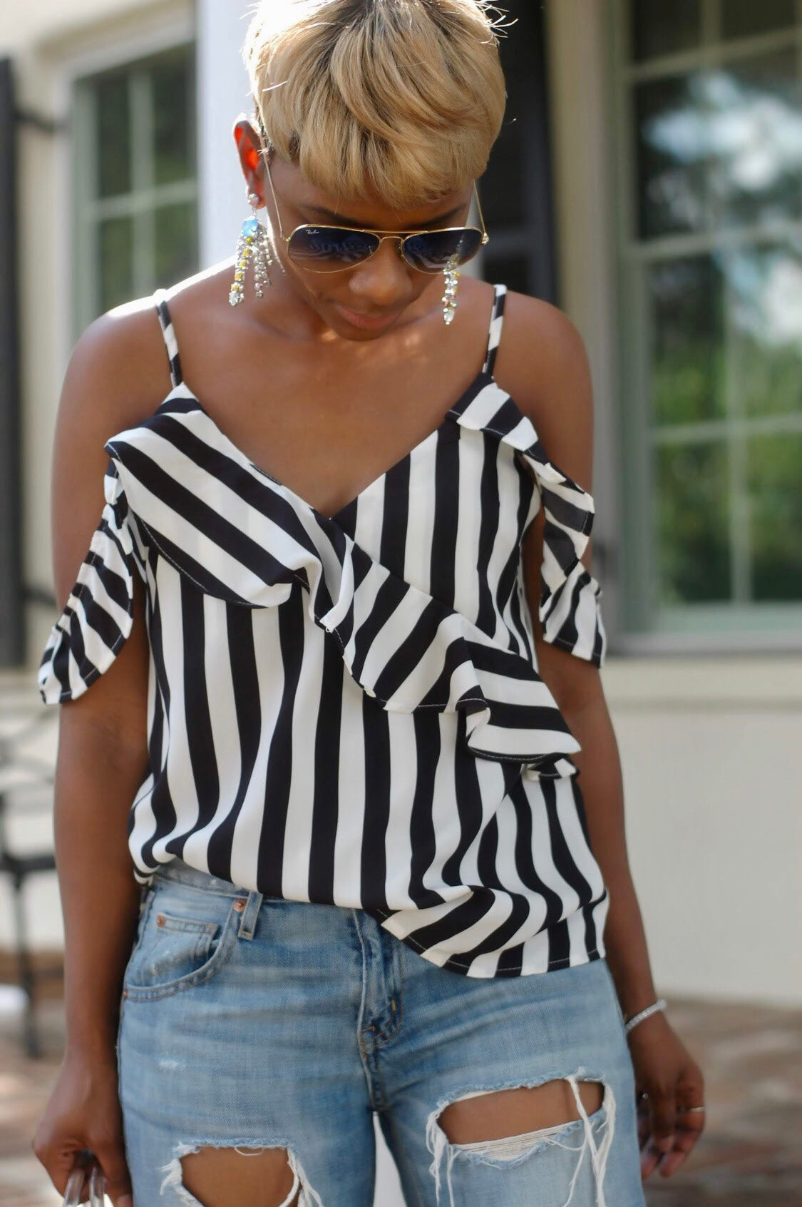 Black/White Striped Ruffled Top