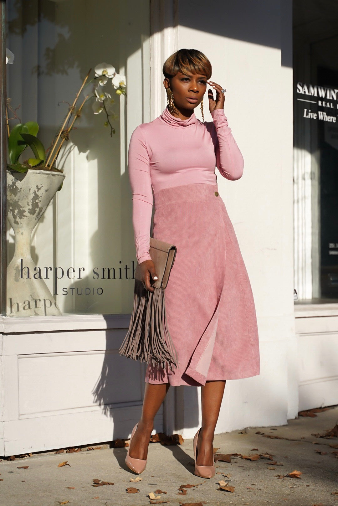 Rose Pink Corduroy Skirt