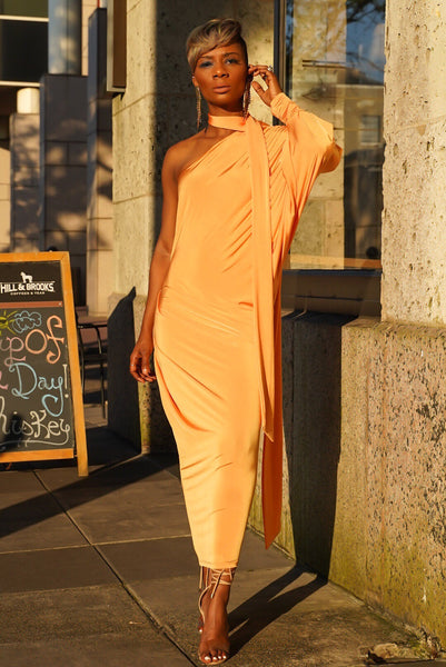 Tangerine Tie Neck Dress