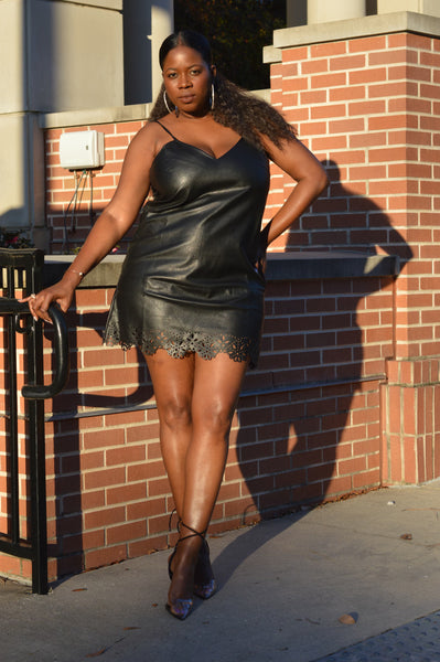 """Allure"" Faux Leather Dress"