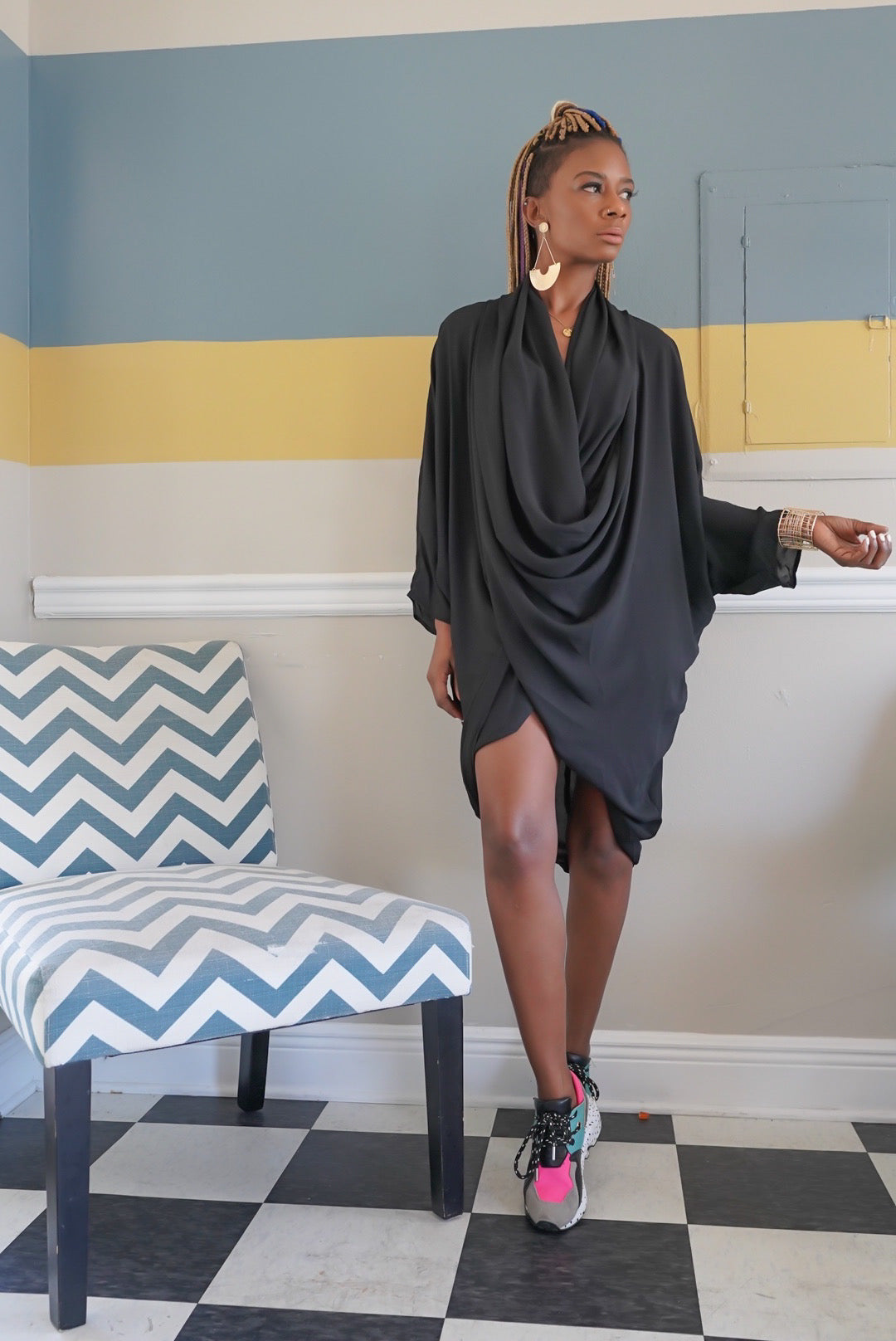 """Sassy Black"" Draped Top"