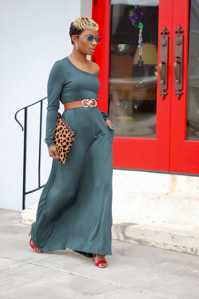 Hunter Green Pocketed Maxi
