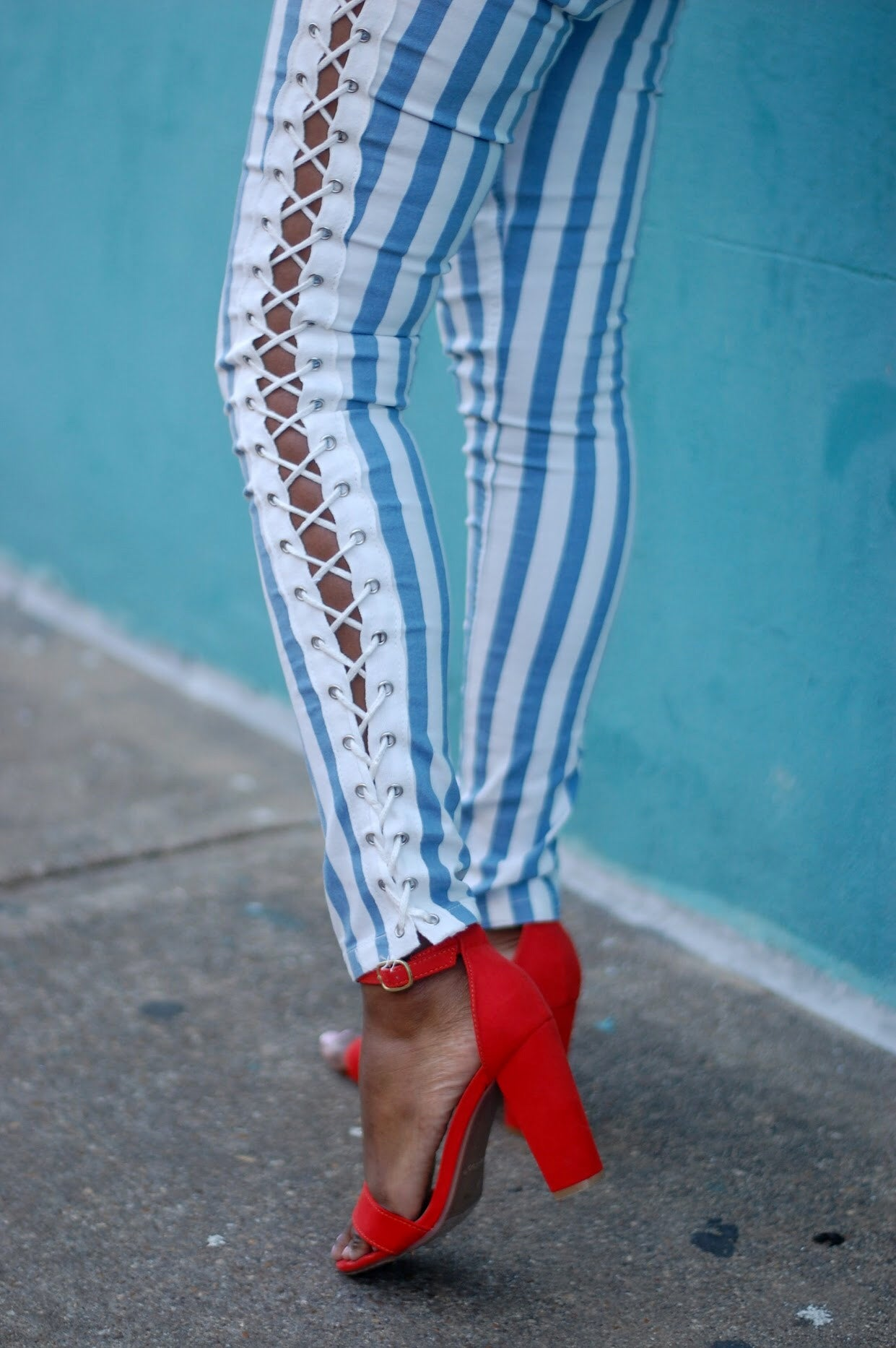 Striped Side Laced Denim