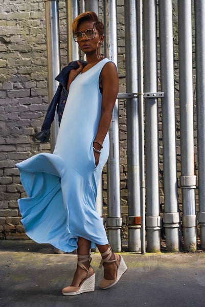 Soft Blue Hi Low Dress