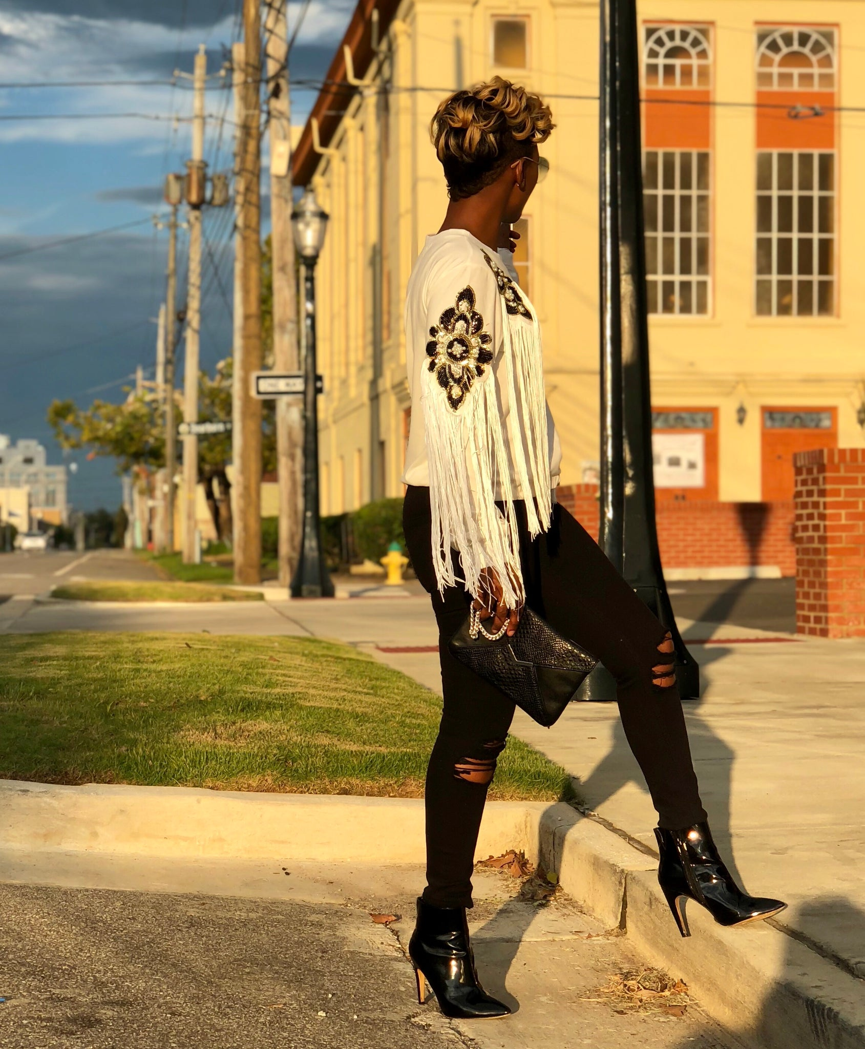 Fringed Leopard Top