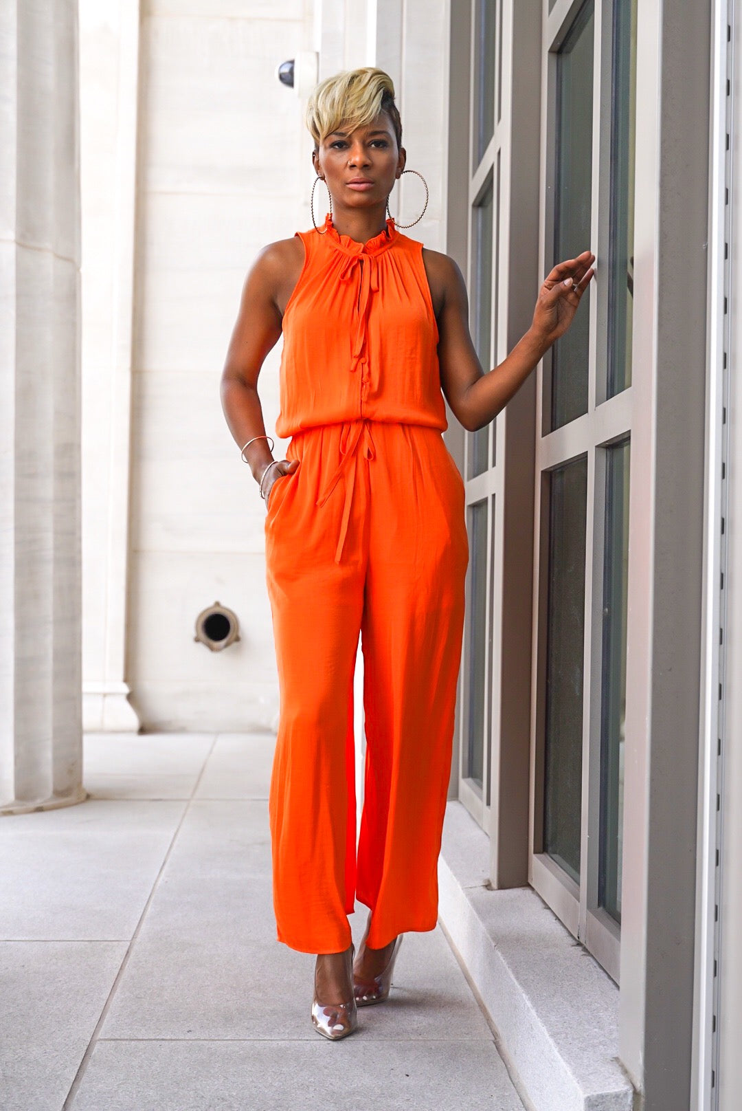 """Vibrant Orange"" Jumpsuit"