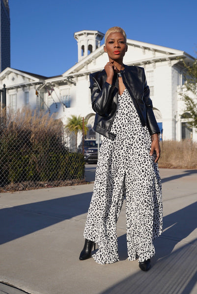 """Leopard Pleats"" Jumpsuit"