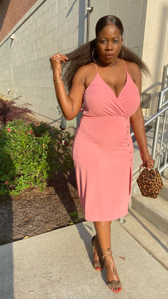 """Pink Rose"" Buttoned Midi"