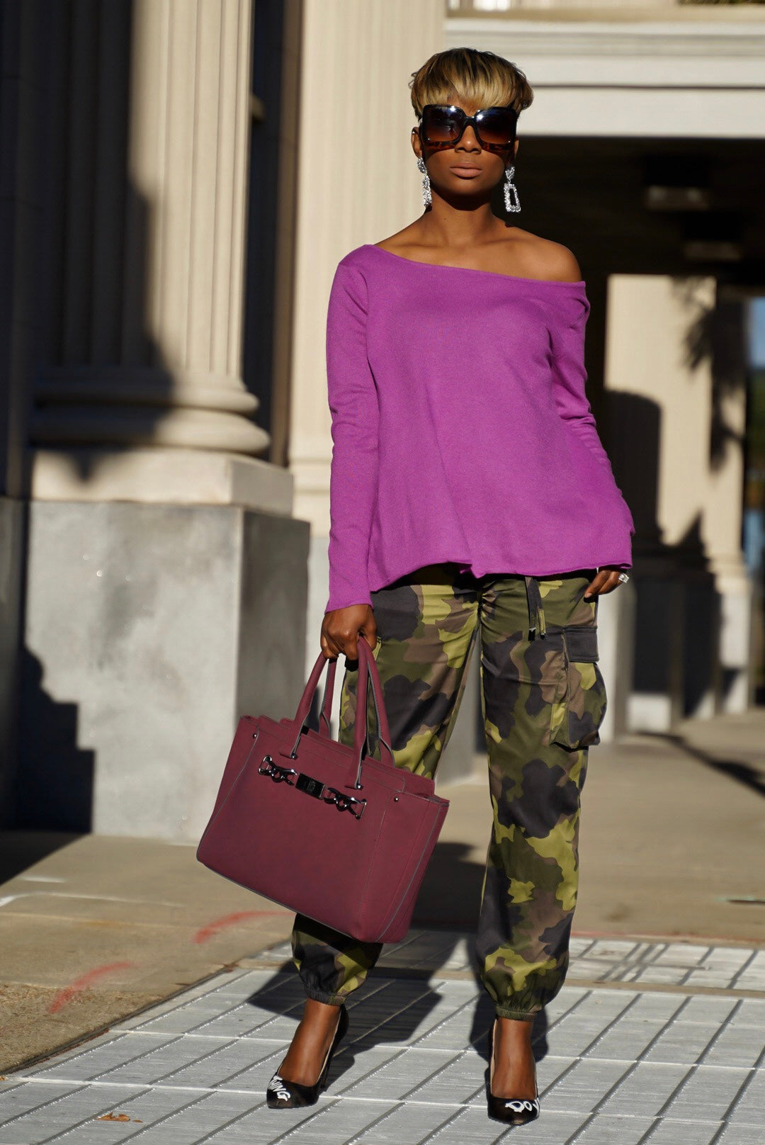 Magenta Wrapback Sweater