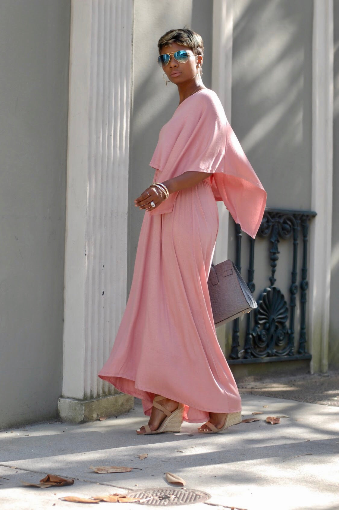 Pink One-Shoulder Midi