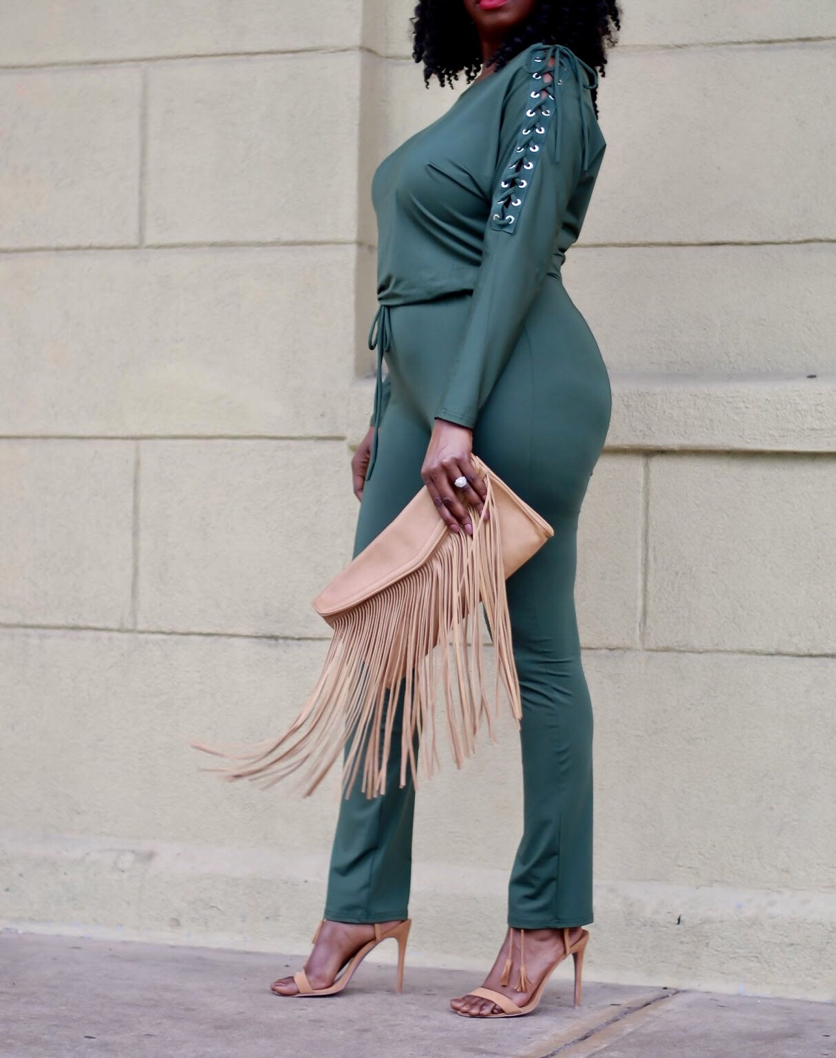 Olive Lace Up Jumpsuit