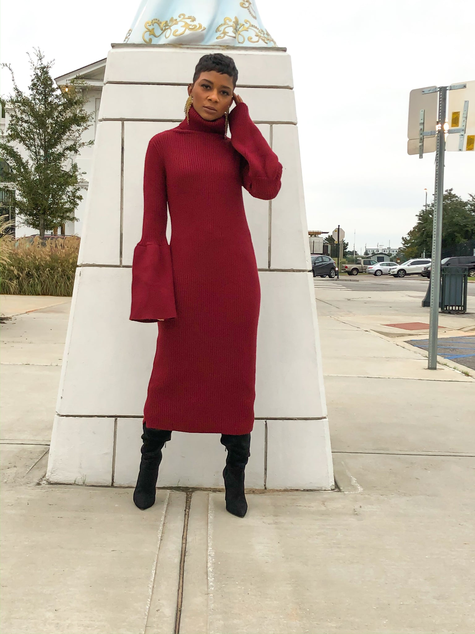 """Garnet"" Sweater Dress"