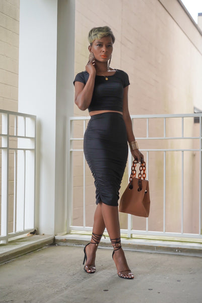 """Ebony Black"" Skirt Set"