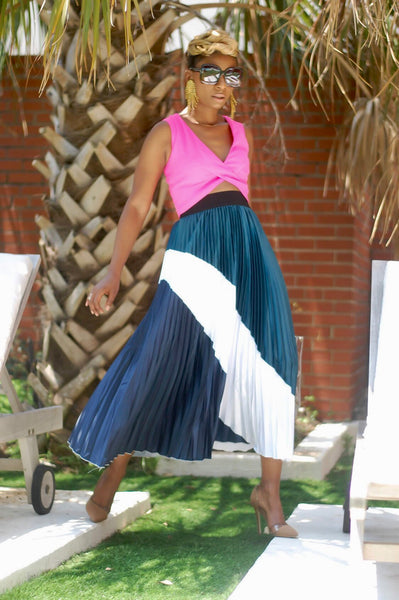 """The Blues"" Pleated Skirt"