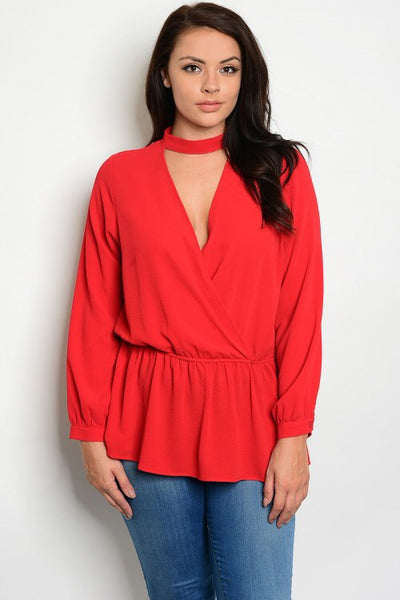 Curvy Red Blouse