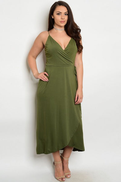 Curvy Olive Wrap Dress
