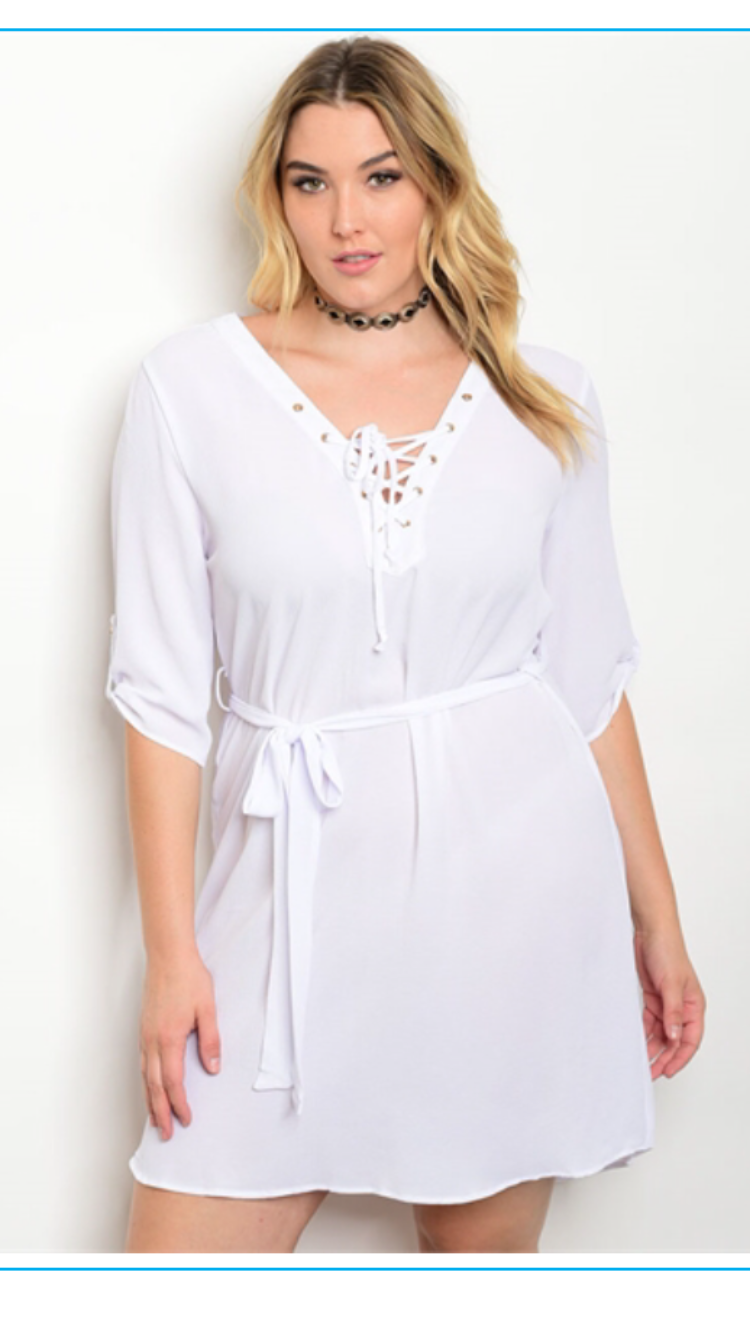 Curvy White Lace-Up Dress