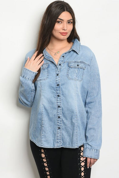 Curvy Denim Shirt