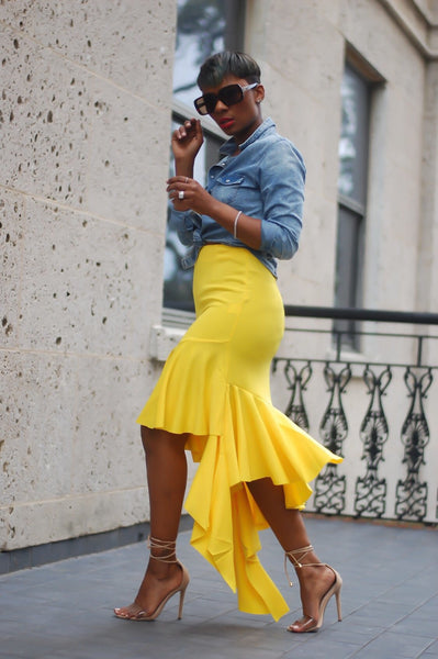 Curvy Yellow Ruffle Skirt