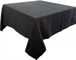 Hem Stitch Black Tablecloth  150x250cm