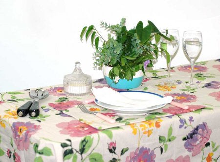 Monet Beige Tablecloth 150x250cm Coated