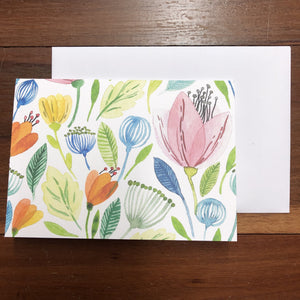 Watercolour Floral Card Lrg