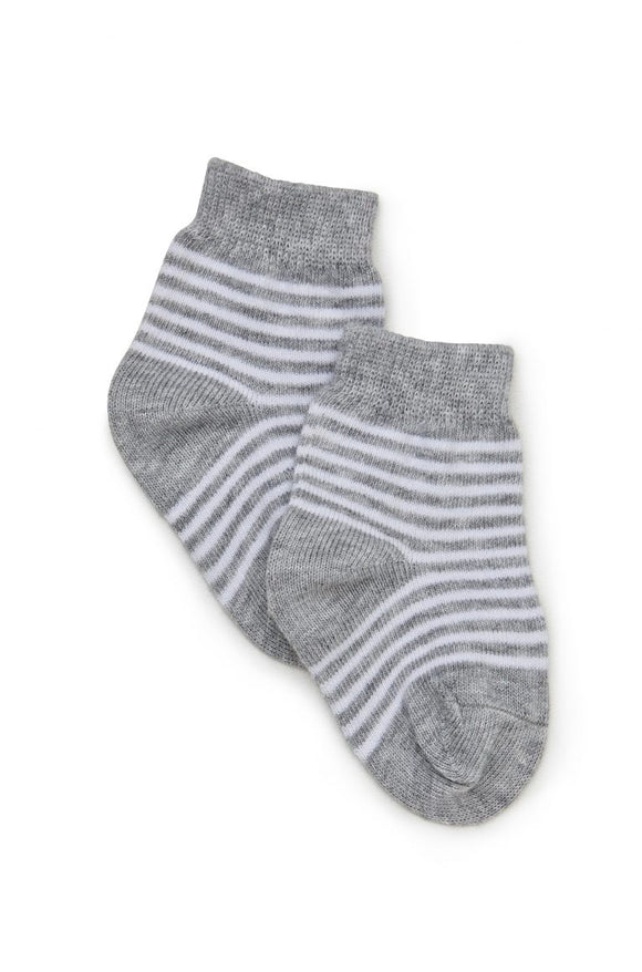 2PK Cotton Sock Grey Stripe
