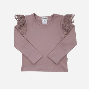 Lace Sleeve Top Dusty Pink