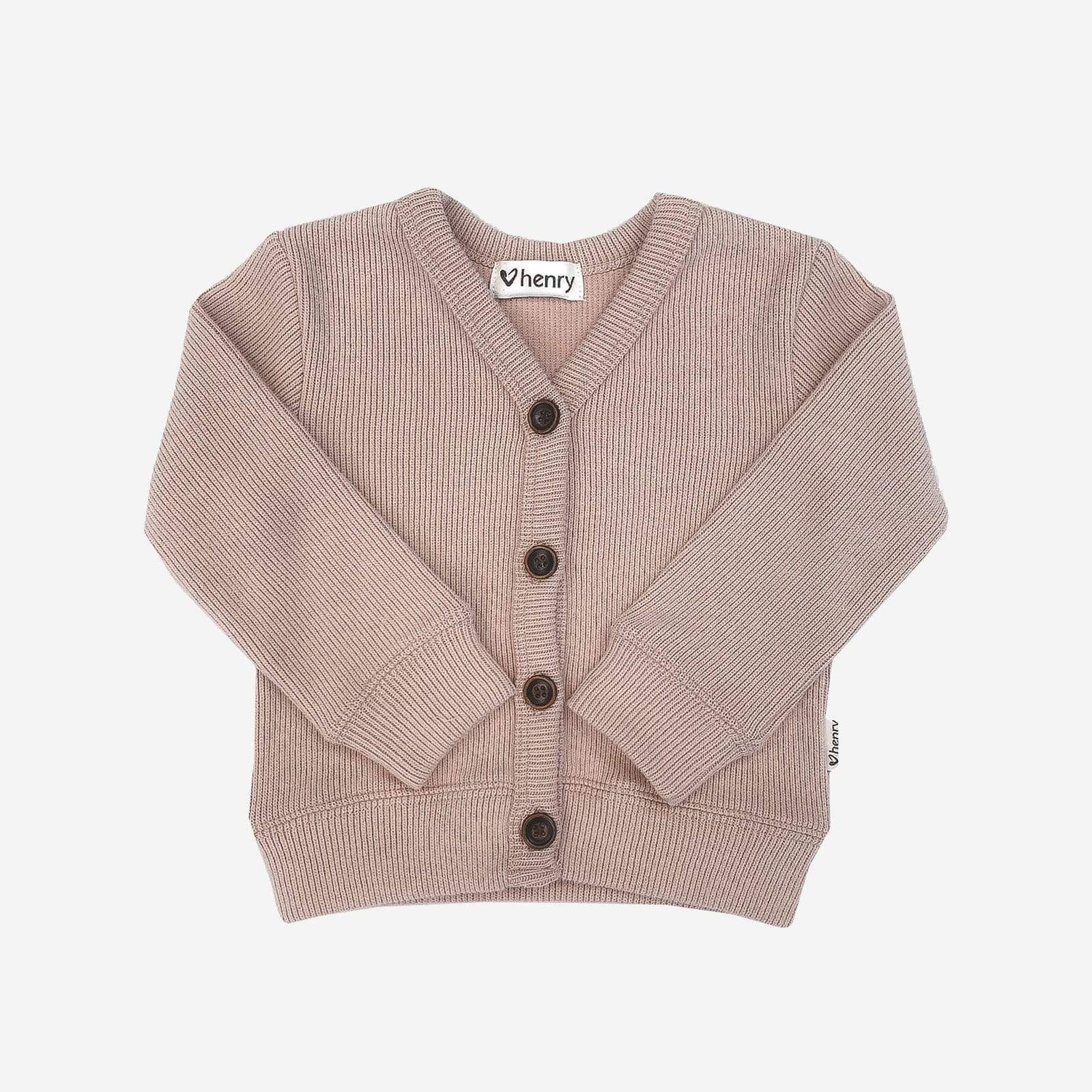 Basic Rib Cardigan Dusty Pink