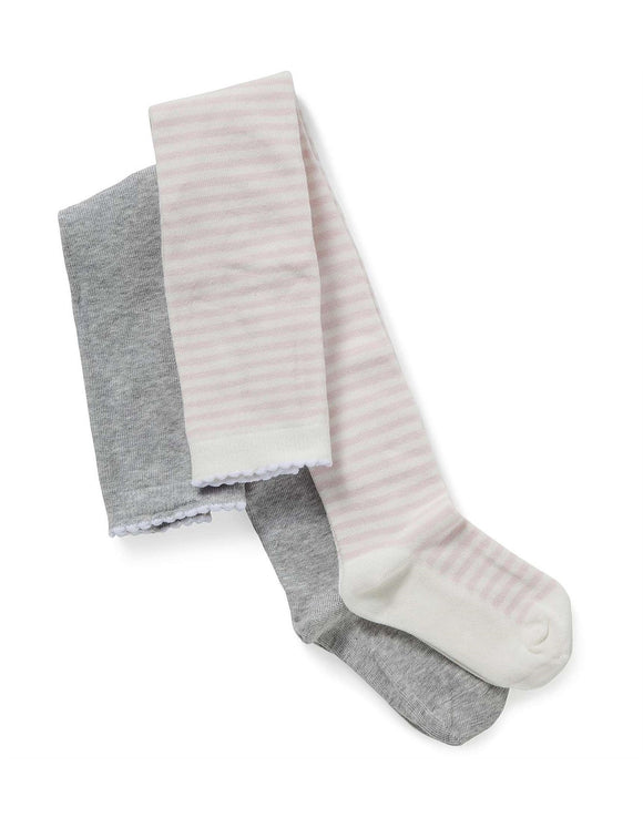 2pk Knitted Tights Pink and Grey