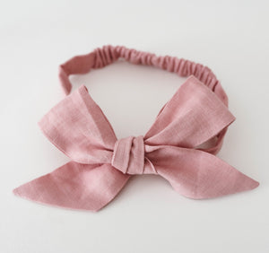 Snuggle Linen Bow Dusty Pink