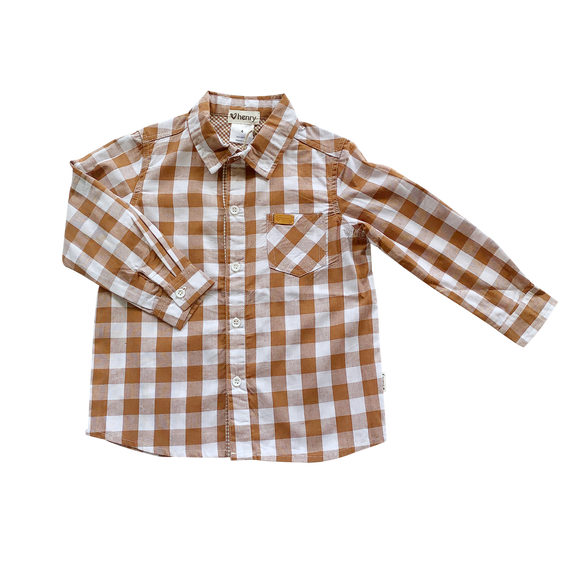 Boys Dress Shirt Large Bronze Check