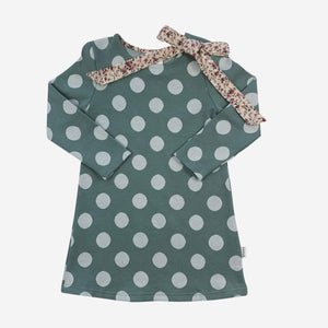 Mary Dress Turquoise/White Spot