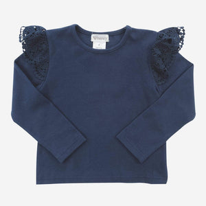 Lace Sleeve Top Navy