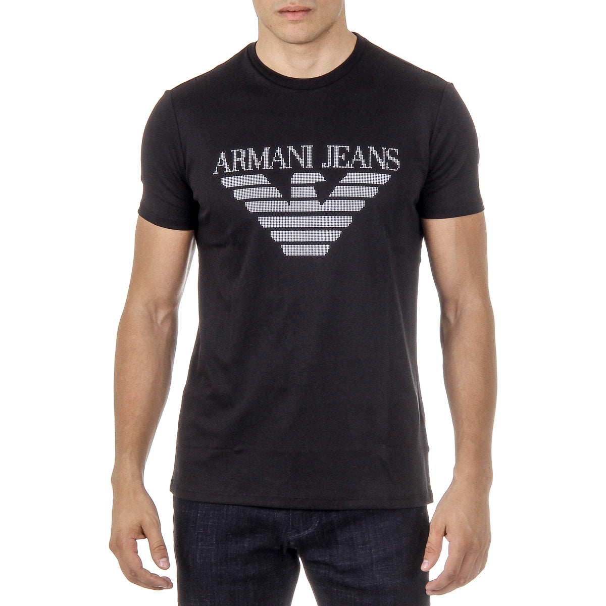 Black t shirt armani - Armani Jeans Mens T Shirt Short Sleeves Round Neck Black 3y6t52 6jprz 1200