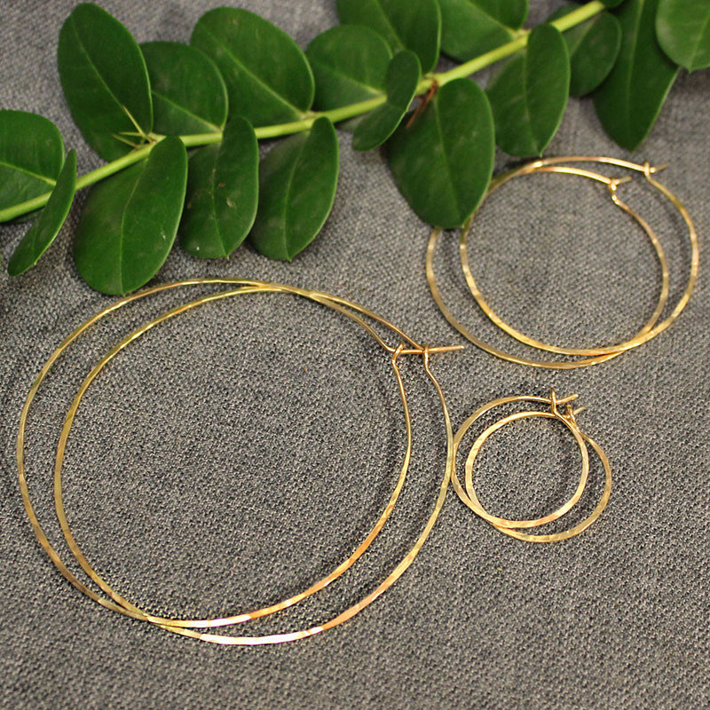 Gold Hoop Earrings - 14k Gold Light Hoops.