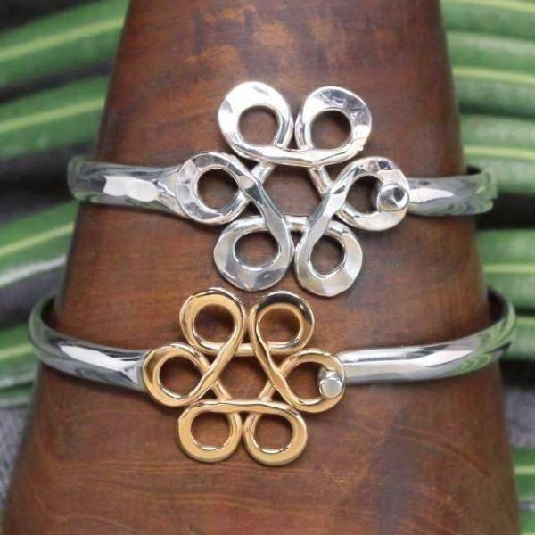 Sterling silver, 14k gold and 2 tone classic bracelets with Flower of Life design.