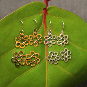 14k gold and Sterling silver Flower of Life kids earrings available as drop or post.