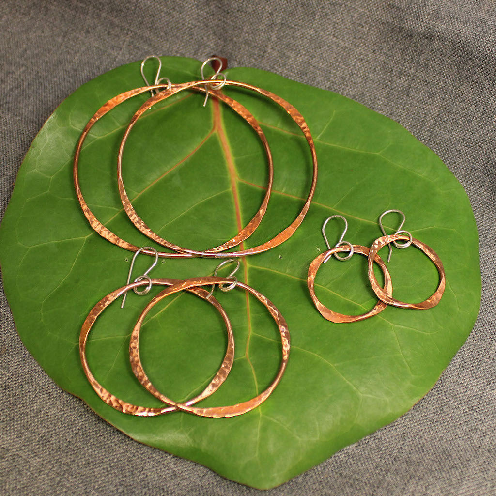Four Corner Copper Earrings
