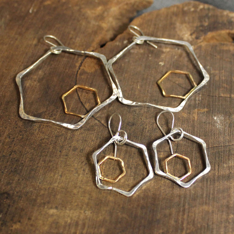 Honeycomb 2-Tone Earrings