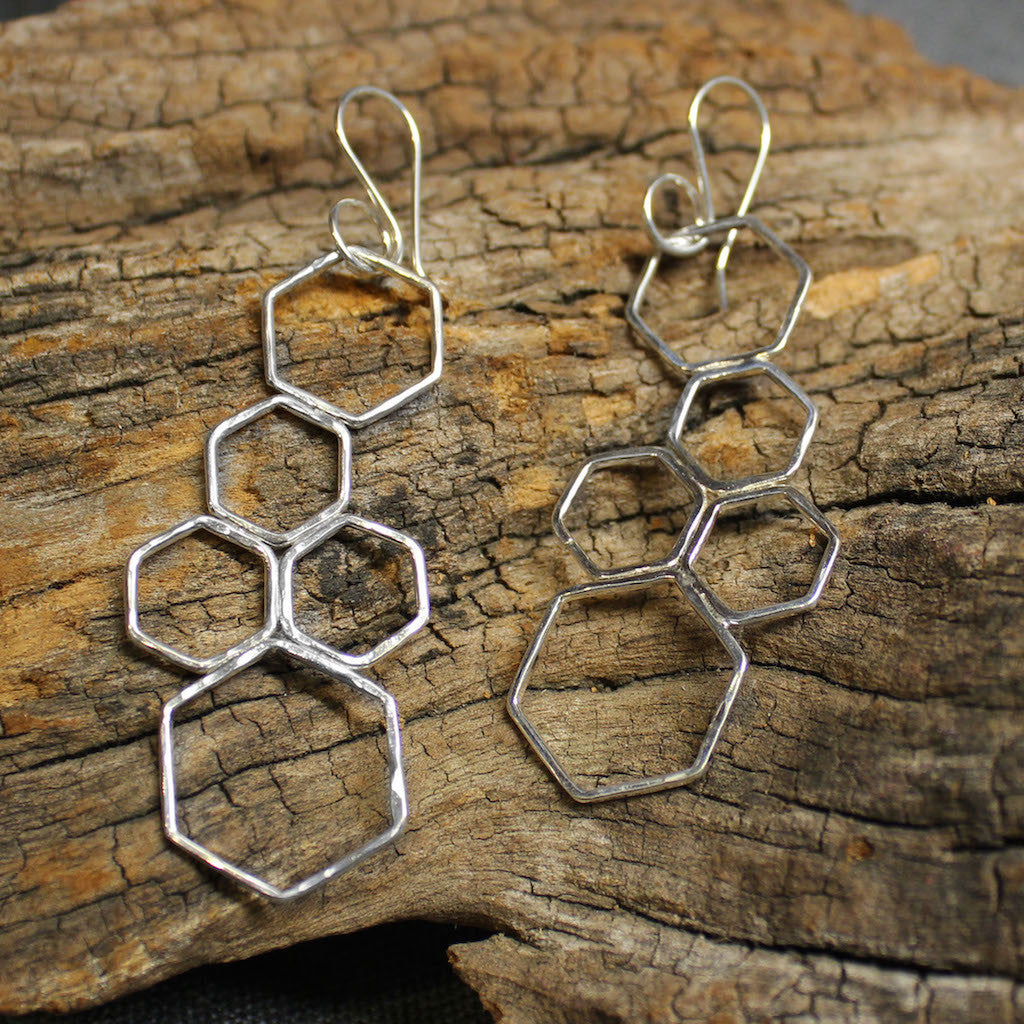 Honeycomb sterling silver cluster earrings.